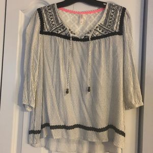 Black and White Peasant Top